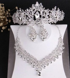 bride wedding crown necklace earrings three-piece set designer white crystal handmade fine craft