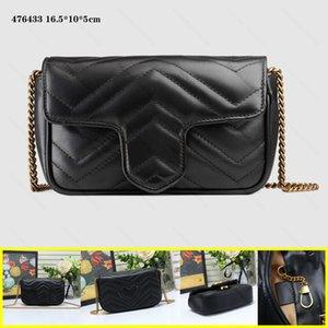 Genuine Leather women Marmont Messenger bags purse gold chain shoulder bags cross body ladies Fashion Mini bag wallet 4 colors 16.5cm