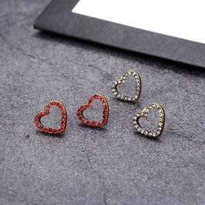 Trendy Double Letter Earrings Charm Heart Shape Diamond Studs Designer Crystal Eardrop With Stamps For Women Gift