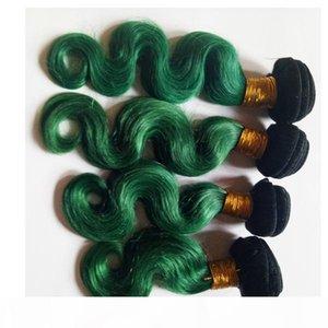Brazilian virgin human Hair Best quality European Mongolian ombre hair weft sexy beauty 1B green Two tone Body Wave cheap Indian remy Hair