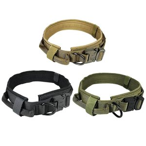 Adjustable Nylon Dog Collar Tactical Metal Buckle With Control Handle Vest For Training Collars & Leashes