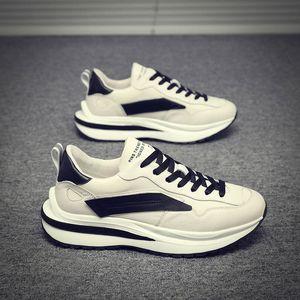 Chaussures Mens 2020 Automne et hiver Nouvelle coréenne Style Casual Chaussures Casual Semelle Hauteur Augmentation Branchement Sneakers Tendance Tous correspondants Hommes à la mode