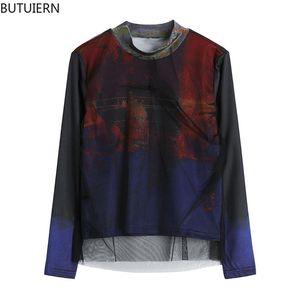 Camisa dos partes superiores Streetwear manga longa Malha de malha do suporte solta Ocasional Y2K TIE T-shirt das mulheres do grunge da forma do verão