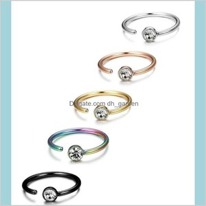 Rings Studs Drop Delivery 2021 C Shaped Body Piercing Stud Crystal Diamond Stainless Steel Nose Ring Nail For Women Fashion Jewelry Will And