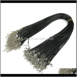 Chains Necklaces & Pendants Drop Delivery 2021 1Dot5 Mm Chain Black Leather Cord Wax Diy Necklace Rope 45 Cm Lobster Clasp Jewelry Accessorie