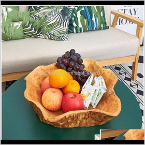 Bowls Creative Wooden Bowl Large Dried Fruit Plate Multigrain Candy Dish Grid Wood Root Carving Tray Household Mi Sqcuuk Jegme Vhyia