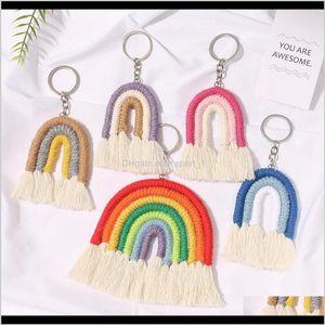 Key Rings Jewelry Drop Delivery Weaving Rainbow Tassel Keychain Car Keyring Holder Bag Wallet Purse For Women Girls 2021 Fashion Djsay