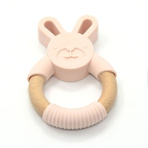 Bopoobo 5pc Food Grade Beech Wooden Teether Ring Baby Training Chewable Rabbit Teethers Diy Pendant Accessories Baby Products 201123 175 Z2