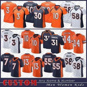 3 Drew Lock 31 Justin Simmons Football Jersey 7 John Elway 10 Jerry Jeudy 58 von Miller 55 Bradley Chubb Courtland Sutton Custom männer Frauen Kinder DenverBronko genäht