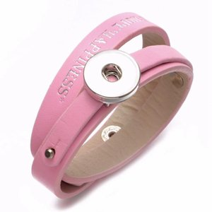 New Arrivals Pink PU Leather DIY Lucky Armband Snap Bracelet 18mm Snap Button Jewelry For Jewelry SZ0479h