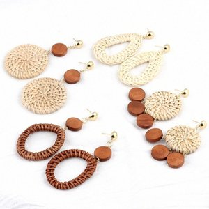 1pair lot New Style Natural Straw Handmade Woven Earrings Drop Geometric Earrings For Women Jewelry Gifts Wedding j4ae#