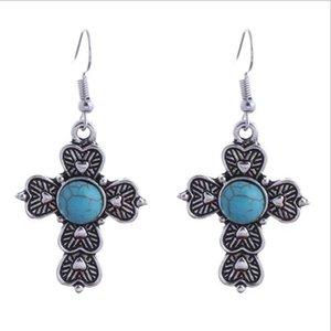 women's Carving cross Tibetan silver Turquoise Dangle Chandelier earrings GSTQE017 fashion gift national style women DIY earring