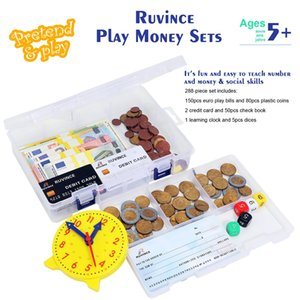 Play Money math Set for Kids Realistic Dollar Bills, Coins, Credit Cards & Checkbook. Math,Counting , Pretend Cash Register