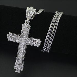 Link Hip hop cross popular diamond studded pendant men's necklaces 1818 Q2