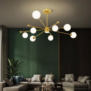 Living Room Chandelier Modern Simple Copper Light Luxury Atmosphere Nordic 2021 High-end Creative Restaurant Lamp Pendant Lamps