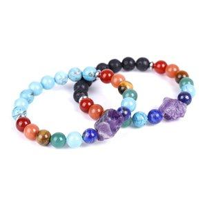 Charm Bracelets Natural 7 Chakra Black Lava Blue Turquoises Beaded Prayer Rock Amethysts Crystal Bracelet For Women Meditation Energy