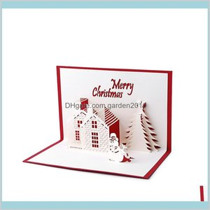 Greeting Cards Event & Party Supplies Festive Home Garden Wholesale- Handmade 3D Up Holiday Christmas Cottage Castle Thanksgiving Gift