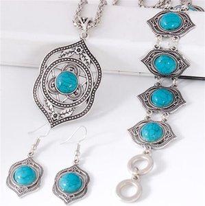 خمر مجوهرات البوهيمي مجموعة collares مبالغ فيها رائعة المختنقون القلائد أساور الفيروز الخرز حزب مجوهرات مجموعات 18 W2