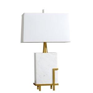 White Square  Rectangle Marble & Golden Color Desk Light Modern Luxury Table Lamp for Hotel  Restaurant Villa Resort Desk Light