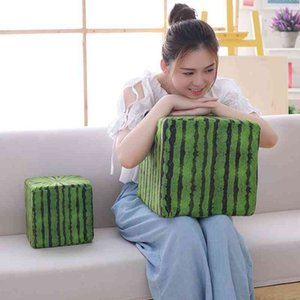 Japanese square funny watermelon pillow plush toy Creative Assembly building block game props grab machine doll