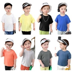 Children's T-shirt Tops Summer Korean Style Pure Cotton Blouse Bottom Tees Solid Candy Color Tee Tshirts Fashion Kids Clothes G579W7D