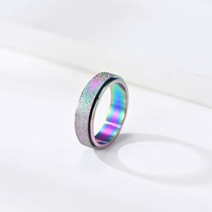 Fashionable Rose Gold Titanium Steel Frosted Rotating Ring with Colorful Pearl Sand Ring Hand Jewelry
