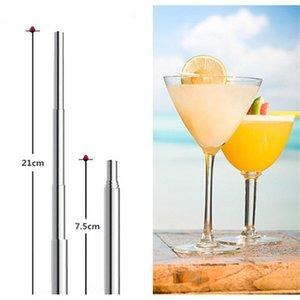 Drinking Straws 1pcs Elastic Metal Straw Reusable Stainless Steel Bag Bar Tool