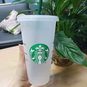 Starbucks Kupa Saman Kupası 24 OZ / 710 ML Plastik Tumbler Kullanımlık Açık ve Siyah Ve Renk Değiştirme Düz Alt Kupası Sütun Şekli Kapak Saman 5 Parça Ücretsiz Epacket