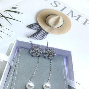 Mium family   Miao family new snowflake tassel Pearl Earrings