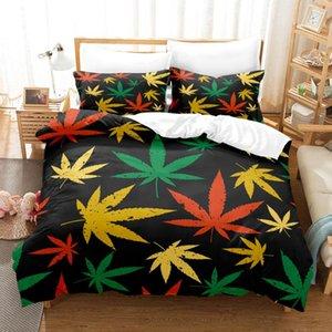 Bedding Sets Colorful Leaf Duvet Cover Leaves Set Comforter For Men Adults Bedroom Decor Bright Pattern Bedspread