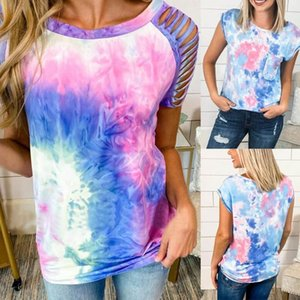Fashion Summer Women Tie-dye Round Neck Tassel Short Sleeve T-shirt Top 2020 New Fashion womens tshirts tops streetwear#y3