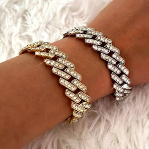 Link, Chain Punk Rock Crystal Cuban Link Bracelet For Women Bling Pink Rhinestone Gold Silver Color Metal Jewelry Gift
