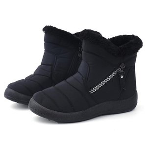 Snow Boots Plush Warm Ankle For Women Family Winter Waterproof Female Shoes Zip Booties 28-43
