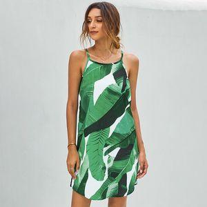 Shiying dress women's 2021 summer new printed round neck sexy sleeveless skirt women 220101