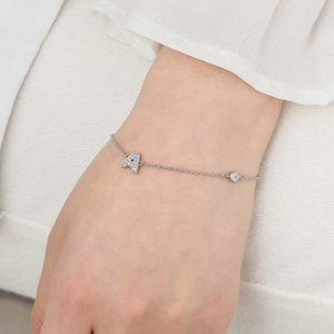 Charm S925 Stamp Letter Silver Color 26 Alphabet Initial Zircon Bracelet For Women Jewelry Adjustable S-B312