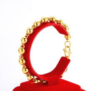 unisex 24k gold plate Glossy beads Beaded, Strands bracelets JSGB006 fashion men women yellow gold plated bracelet