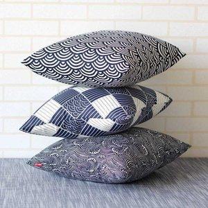 Japanese Hefeng cotton hemp thickened fabric sofa cushion pillow cover waist