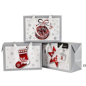 Gift Wrap Portable Christmas Bag Snowflake Xmas White Card Paper Heat Shrinkable Film Beautiful Firm Sock Tree Balloon sea shipping HWD10164