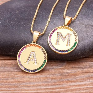 Chains 26 Letters A-Z Initial Necklace Colorful Color Gold Chain Choker Women Statement Bling Crystal Alphabet Luxury Jewelry