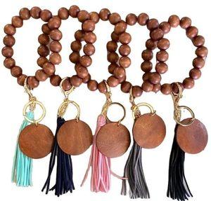 6 styles Wooden Bracelet Keychain with Tassels Key DIY Wood Fiber Pandent Wood Bead Bangle Key Decorate Q35