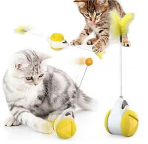 Windmill Interactive Rotating Cat Game Toy Spring Feather Teasing Scratching Ball Toys with Catnip Pet Supplies Supply