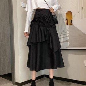 Skirts Bowknot Bandage Pleated Dark Wind Ins Korean Version Skirt Retro Wild Drawstring High Waist 2021 Autumn Summer Fashion
