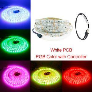 LED Şerit 6LED RGB Mini 3Keys ile Contoller 5 V Su Geçirmez Beyaz / Siyah PCB TV Arka Plan Bilgisayar Ev DIY L Şeritler