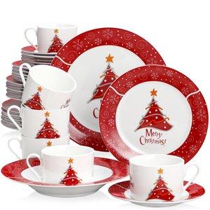 2021 Veveet 30/60-х частей керамический фарфоровый рождественские елки узор подарок посуда посуда ужин набор с чашкой блюдце десертный суп ужин набор