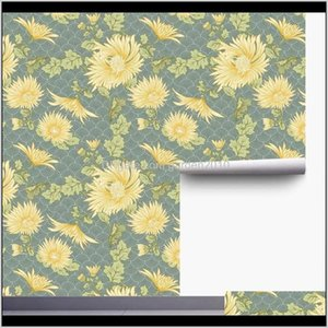 Wallpapers Home Elegant Yellow Daisy Waves Self-Adhesive Prepasted Wallpaper Peel And Stick Handpainting Wall Mural Furniture Stickers Zxghu