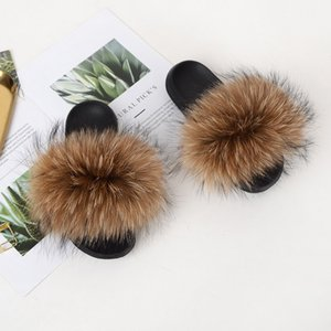 Women's Colorful Raccoon Fur Slippers Ladies Fur Slides Female Fluffy Sandals Girl's Fashion Flip Flops Plush Woman House Shoes Q0508