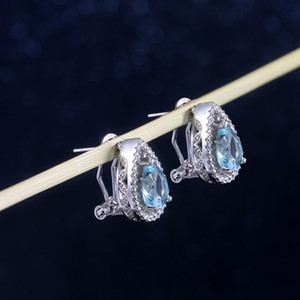Bling Bling Crystal Waterdrop Stud Earring Women Sapphire Ear Clip for Gift Party Fashion Jewelry Accessories 304 J2