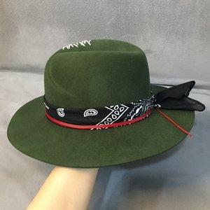 Ethnic Style Green Wide Brim Fedora Hat 100% Wool Women Felt Hats Panama Hat with Turban Ribbon Crushabley Porkpie Style