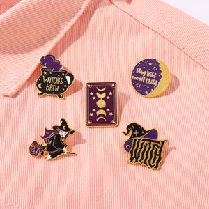 Halloween Magic Book Witch Enamel Pins Lunar Eclipse Hat Backpacks Clothes Metal Badge Lapel Brooch Jewelry Gift Wholesale