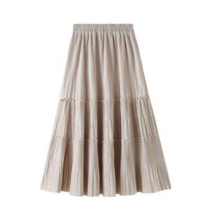 Skirts Female Vintage Long Velvet A Line Skirt Women For Autumn Winter Korean Fashion Lady Elegant High Waist Midi Beige Pleated